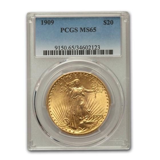 1909 $20 Saint-Gaudens Gold Double Eagle MS-65 PCGS