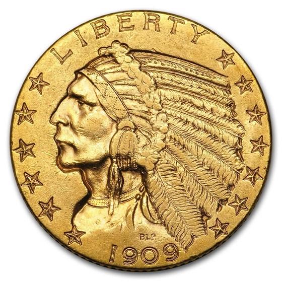 1909 $5 Indian Gold Half Eagle AU