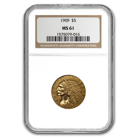 1909 $5 Indian Gold Half Eagle MS-61 NGC