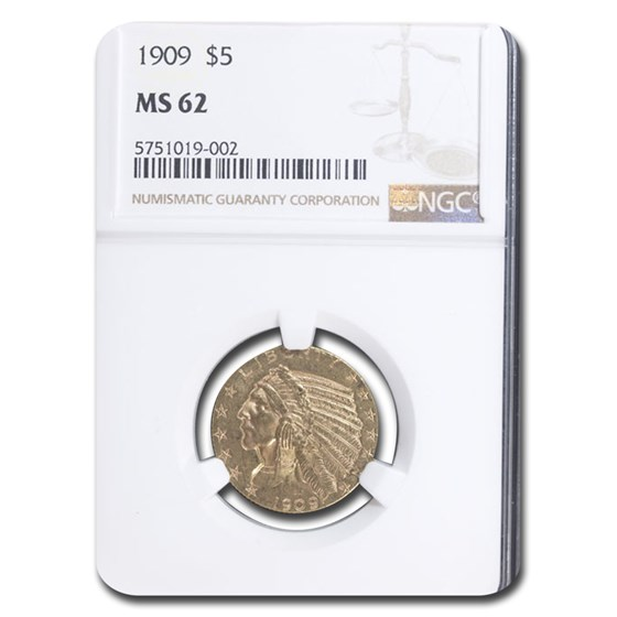 1909 $5 Indian Gold Half Eagle MS-62 NGC