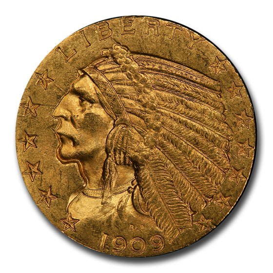 1909 $5 Indian Gold Half Eagle MS-63+ PCGS CAC