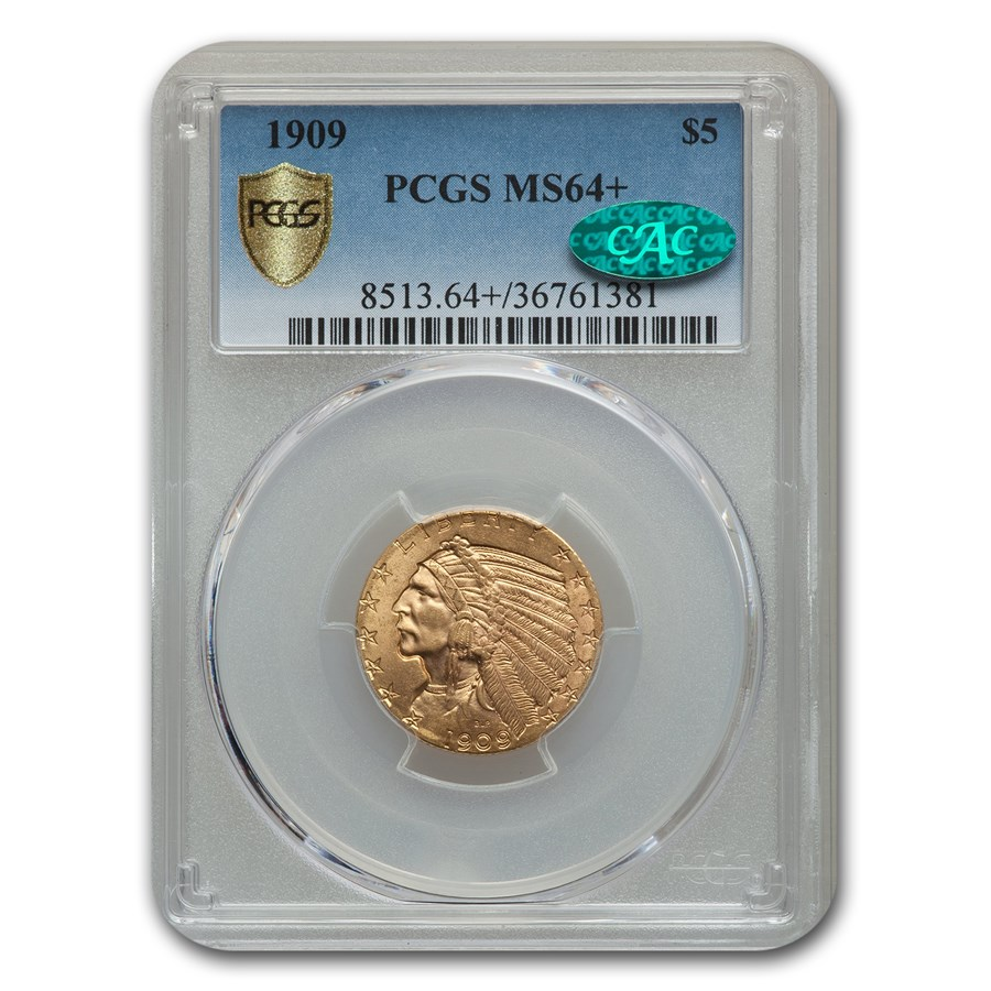 1909 $5 Indian Gold Half Eagle MS-64+ PCGS CAC