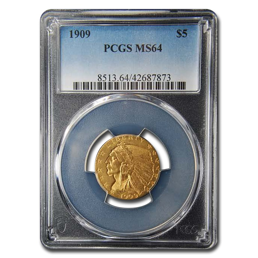 1909 $5 Indian Gold Half Eagle MS-64 PCGS