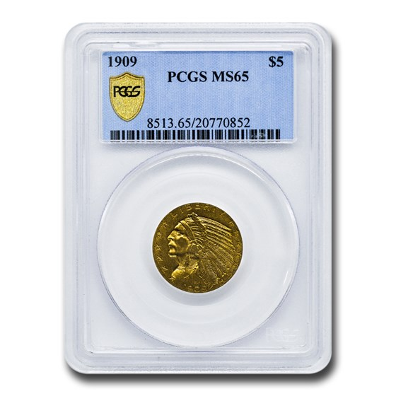 1909 $5 Indian Gold Half Eagle MS-65 PCGS