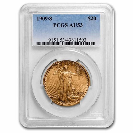 1909/8 $20 Saint-Gaudens Gold Double Eagle AU-53 PCGS