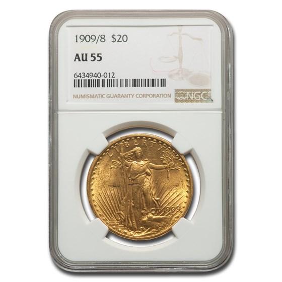 1909/8 $20 Saint-Gaudens Gold Double Eagle AU-55 NGC