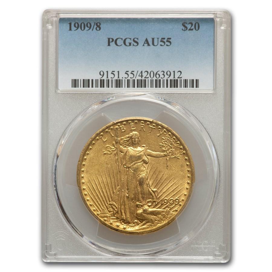 1909/8 $20 Saint-Gaudens Gold Double Eagle AU-55 PCGS