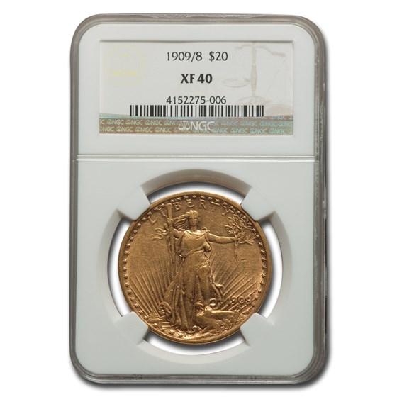 1909/8 $20 Saint-Gaudens Gold Double Eagle XF-40 NGC