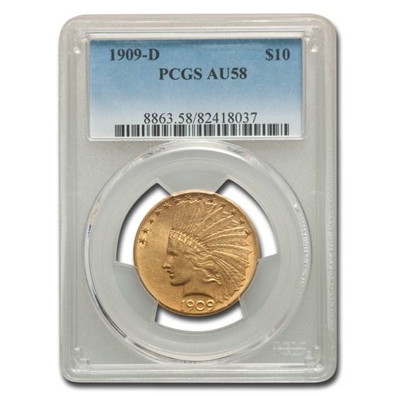 1909-D $10 Indian Gold Eagle AU-58 PCGS