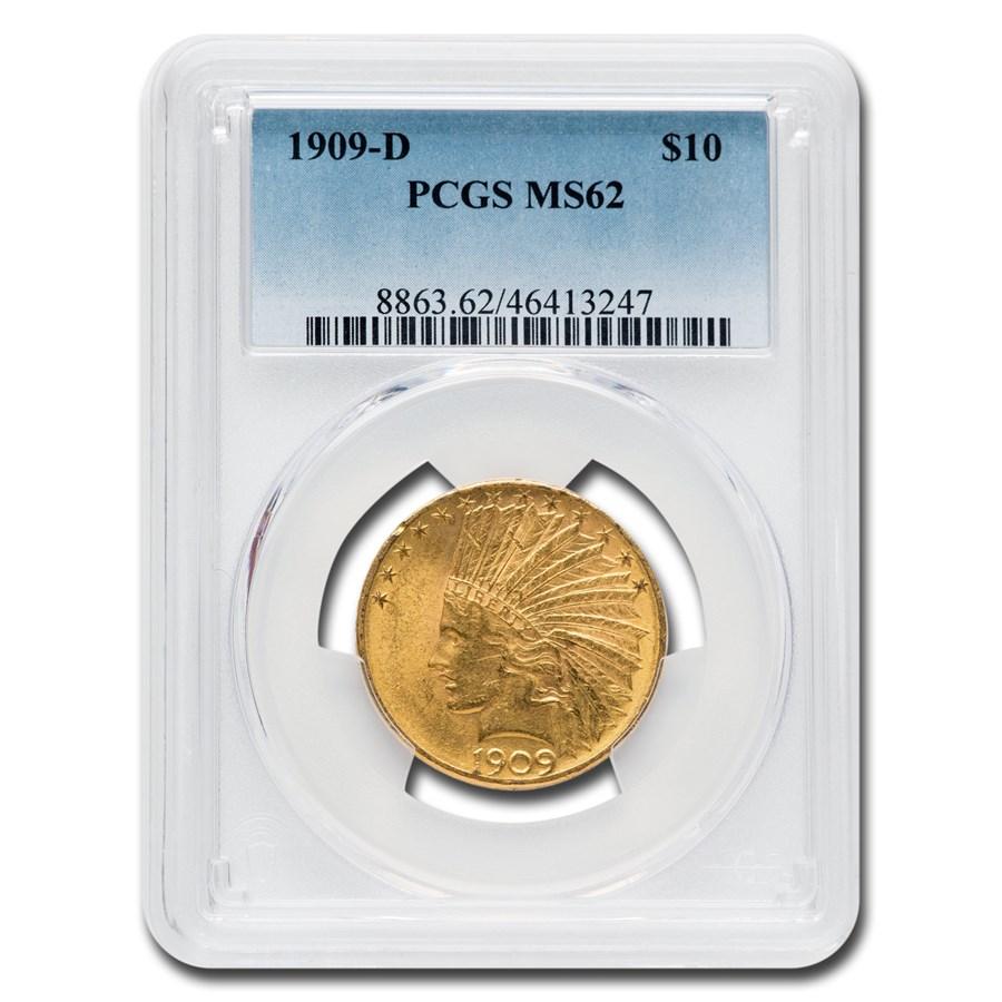 1909-D $10 Indian Gold Eagle MS-62 PCGS