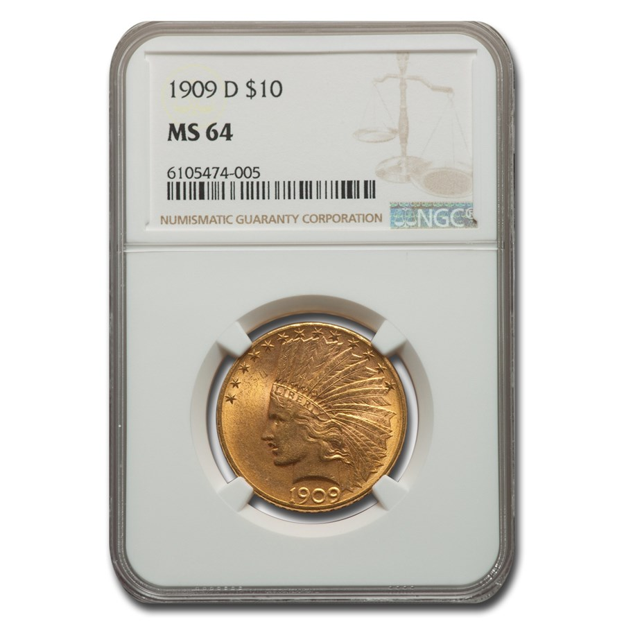 1909-D $10 Indian Gold Eagle MS-64 NGC
