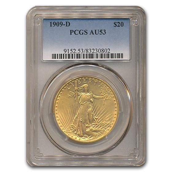 1909-D $20 Saint-Gaudens Gold Double Eagle AU-53 PCGS