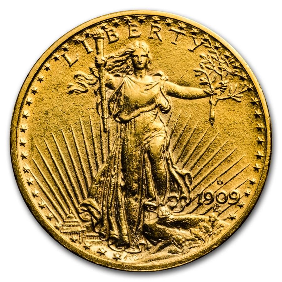 1909-D $20 Saint-Gaudens Gold Double Eagle AU Details (Cleaned)