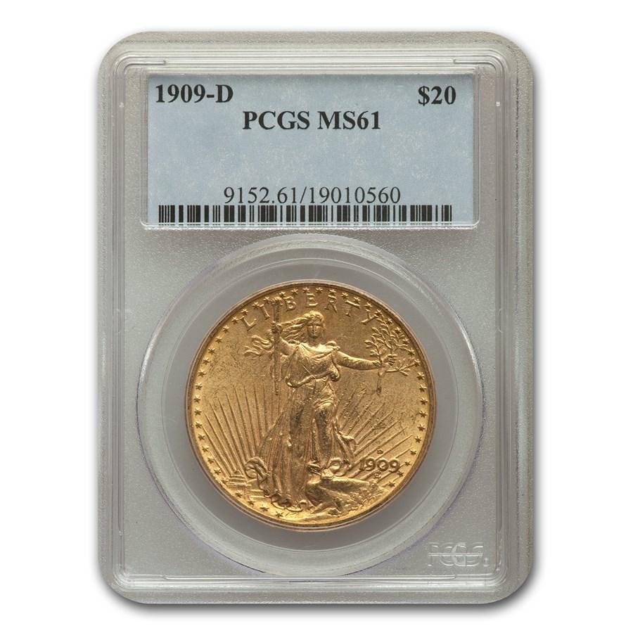1909-D $20 Saint-Gaudens Gold Double Eagle MS-61 PCGS