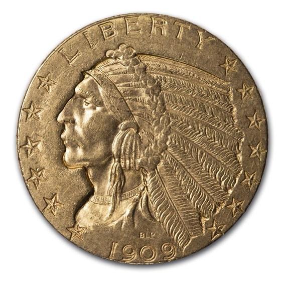1909-D $5 Indian Gold Half Eagle AU