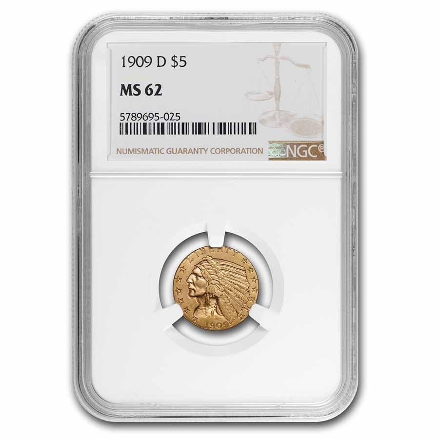 1909-D $5 Indian Gold Half Eagle MS-62 NGC