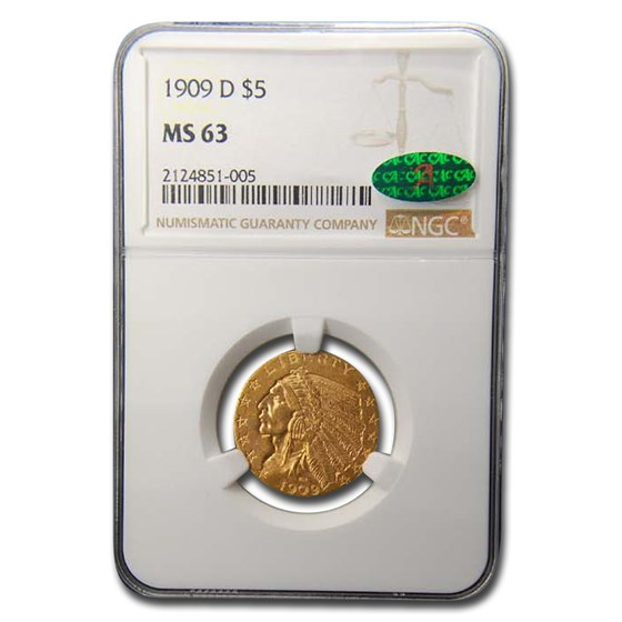 1909-D $5 Indian Gold Half Eagle MS-63 NGC CAC