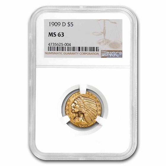 1909-D $5 Indian Gold Half Eagle MS-63 NGC