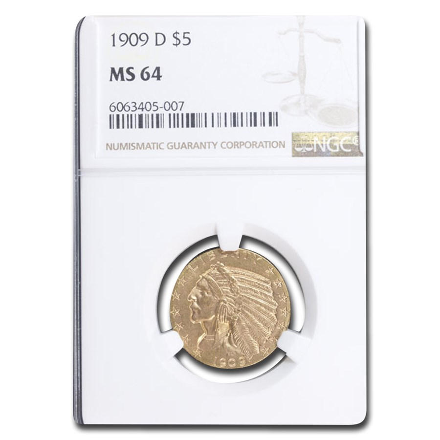 1909-D $5 Indian Gold Half Eagle MS-64 NGC