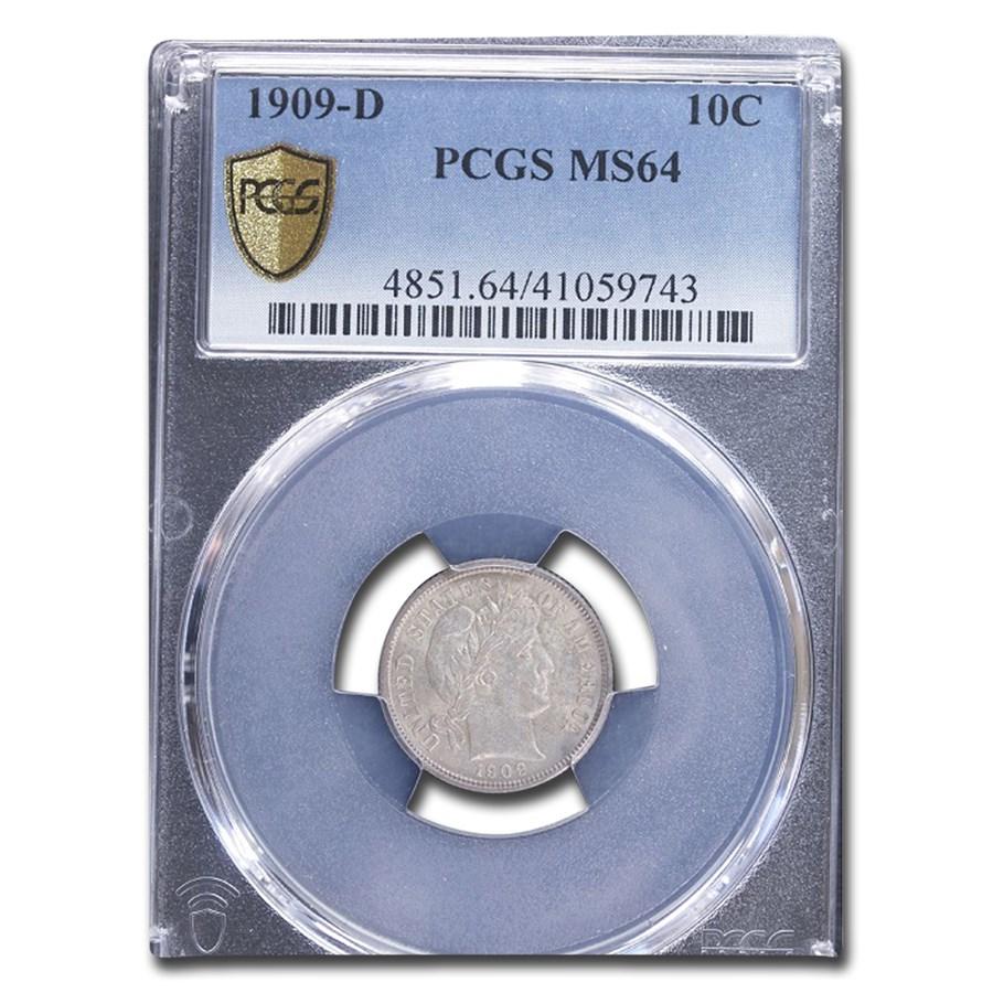 1909-D Barber Dime MS-64 PCGS