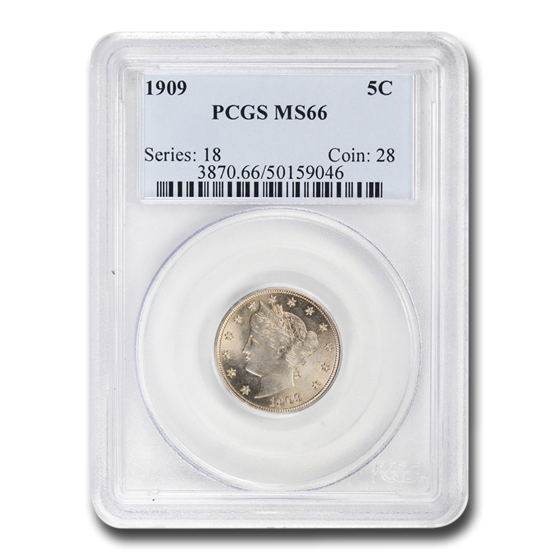 1909 Liberty Head V Nickel MS-66 PCGS