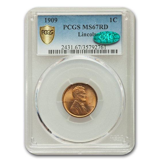 1909 Lincoln Cent MS-67 PCGS CAC (Red)