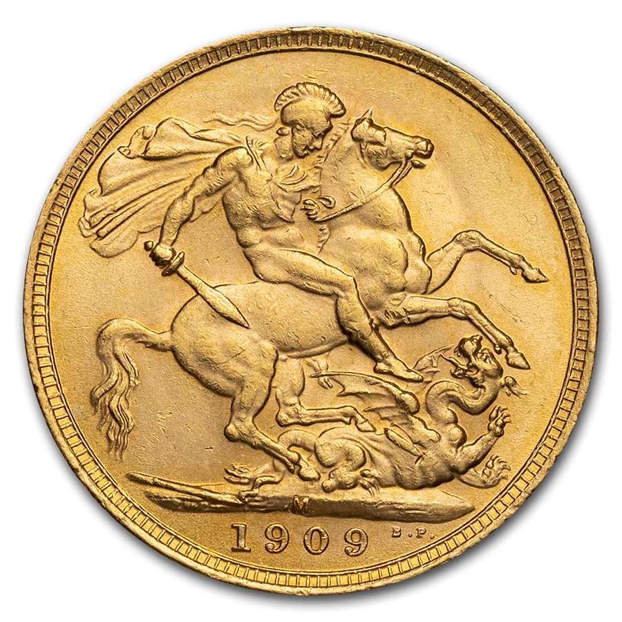 1909-M Australia Gold Sovereign Edward VII BU