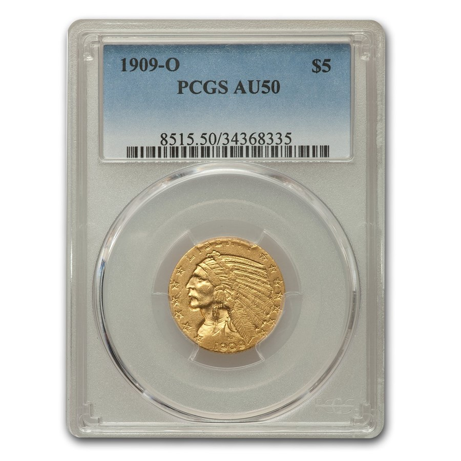 1909-O $5 Indian Gold Half Eagle AU-50 PCGS
