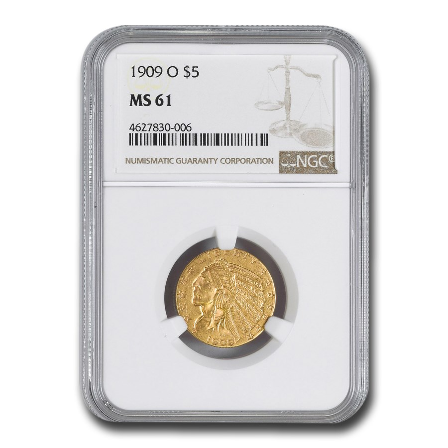 1909-O $5 Indian Gold Half Eagle MS-61 NGC