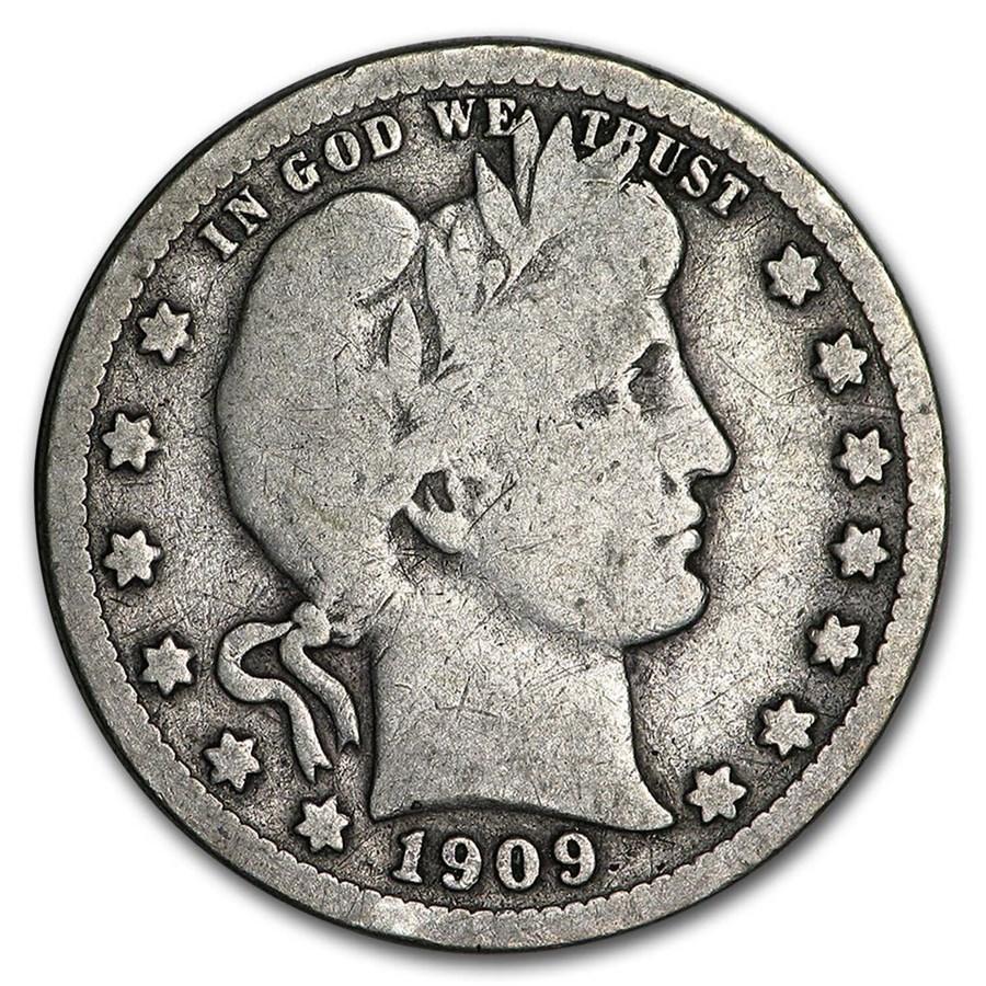 1909-O Barber Quarter VG