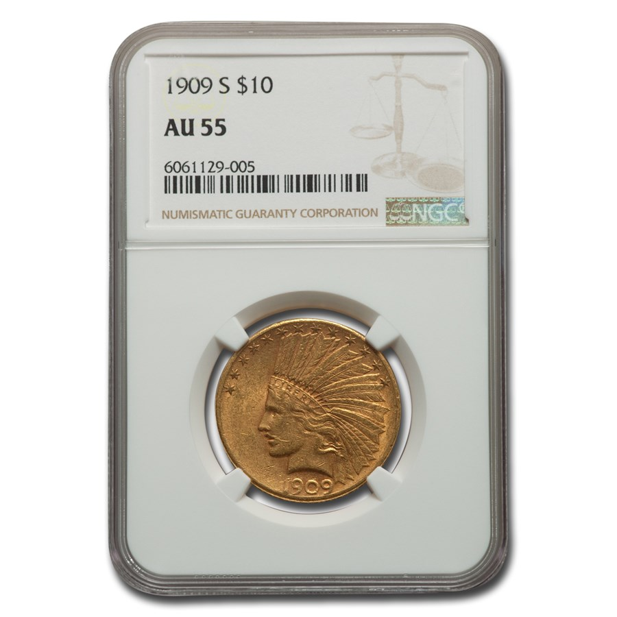 1909-S $10 Indian Gold Eagle AU-55 NGC