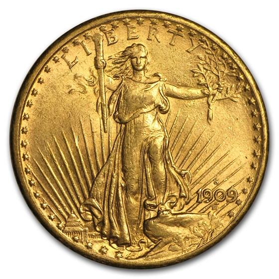 1909-S $20 Saint-Gaudens Gold Double Eagle AU