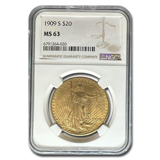 1909-S $20 Saint-Gaudens Gold Double Eagle MS-63 NGC