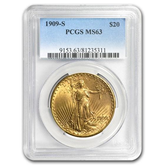 1909-S $20 Saint-Gaudens Gold Double Eagle MS-63 PCGS