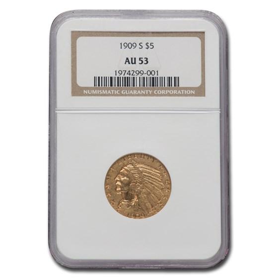1909-S $5 Indian Gold Half Eagle AU-53 NGC