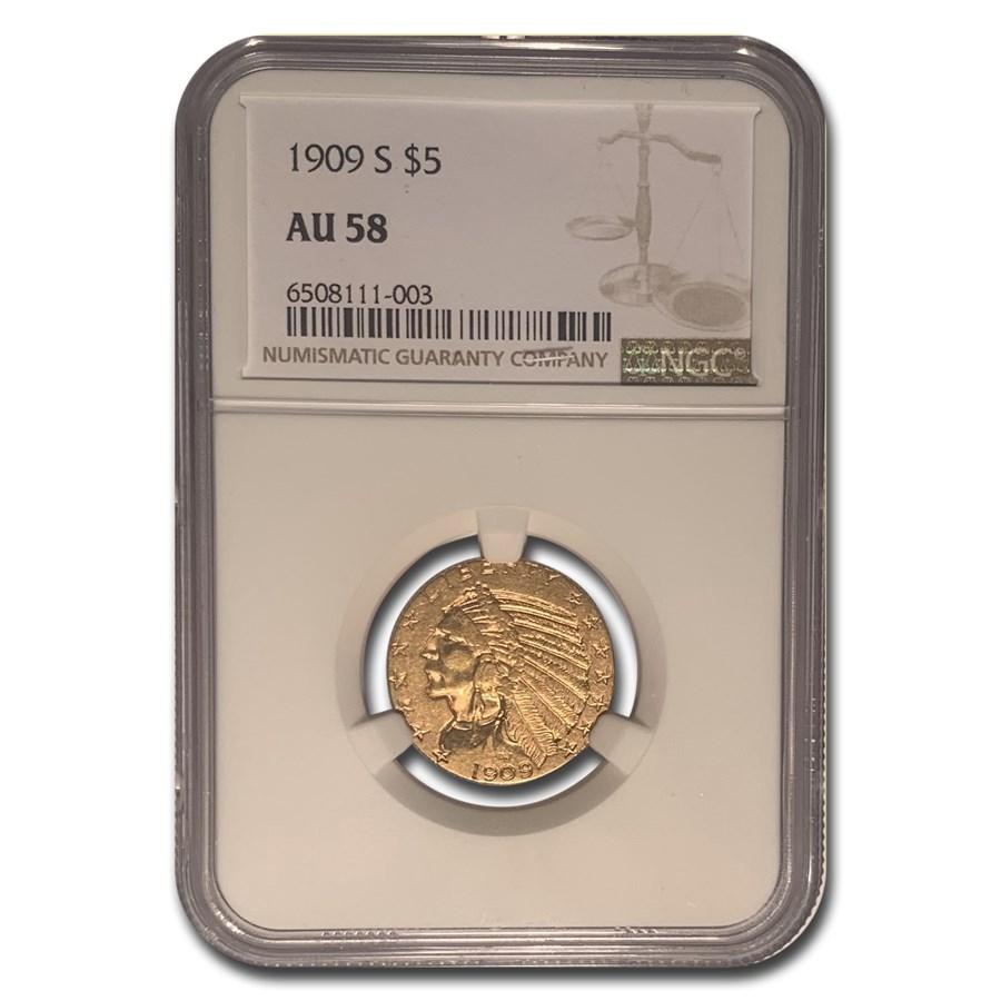 1909-S $5 Indian Gold Half Eagle AU-58 NGC