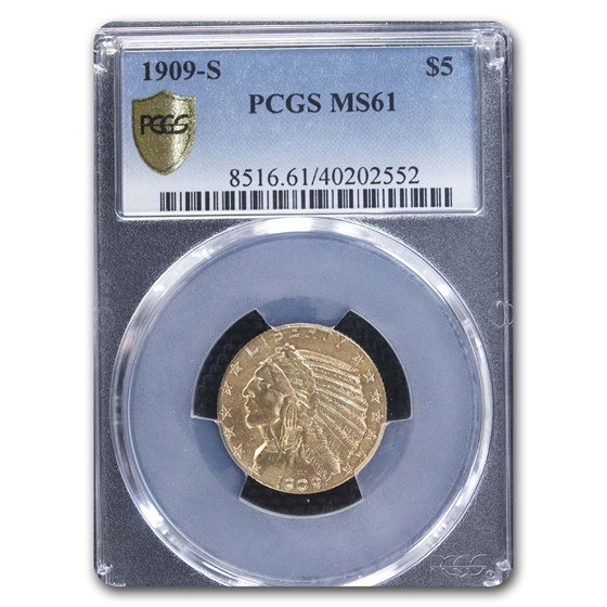 1909-S $5 Indian Gold Half Eagle MS-61 PCGS