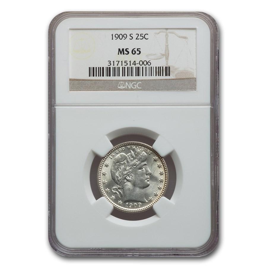 1909-S Barber Quarter MS-65 NGC