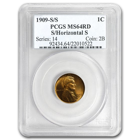 1909-S/Horizontal S Lincoln Cent MS-64 PCGS (Red)