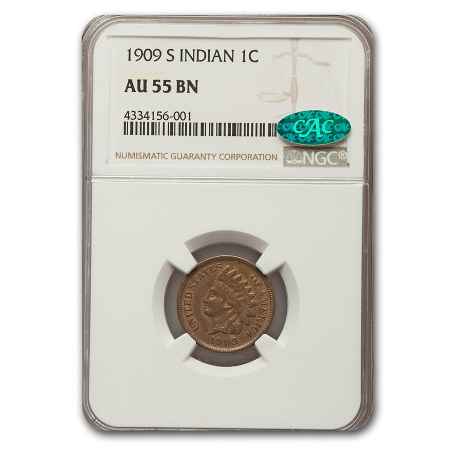 1909-S Indian Head Cent AU-55 NGC CAC (Brown)