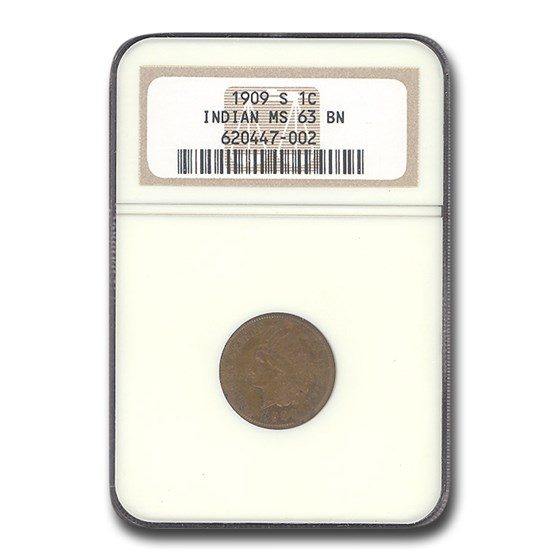 1909-S Indian Head Cent MS-63 NGC (Brown)