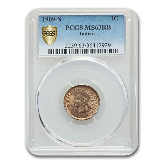 1909-S Indian Head Cent MS-63 PCGS (Red/Brown)