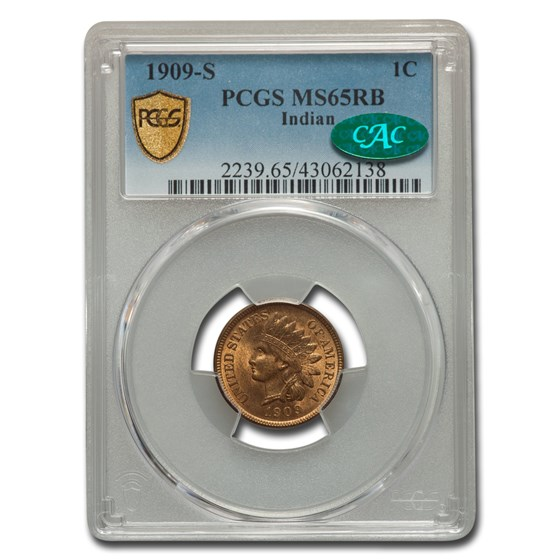 1909-S Indian Head Cent MS-65 PCGS CAC (Red/Brown)