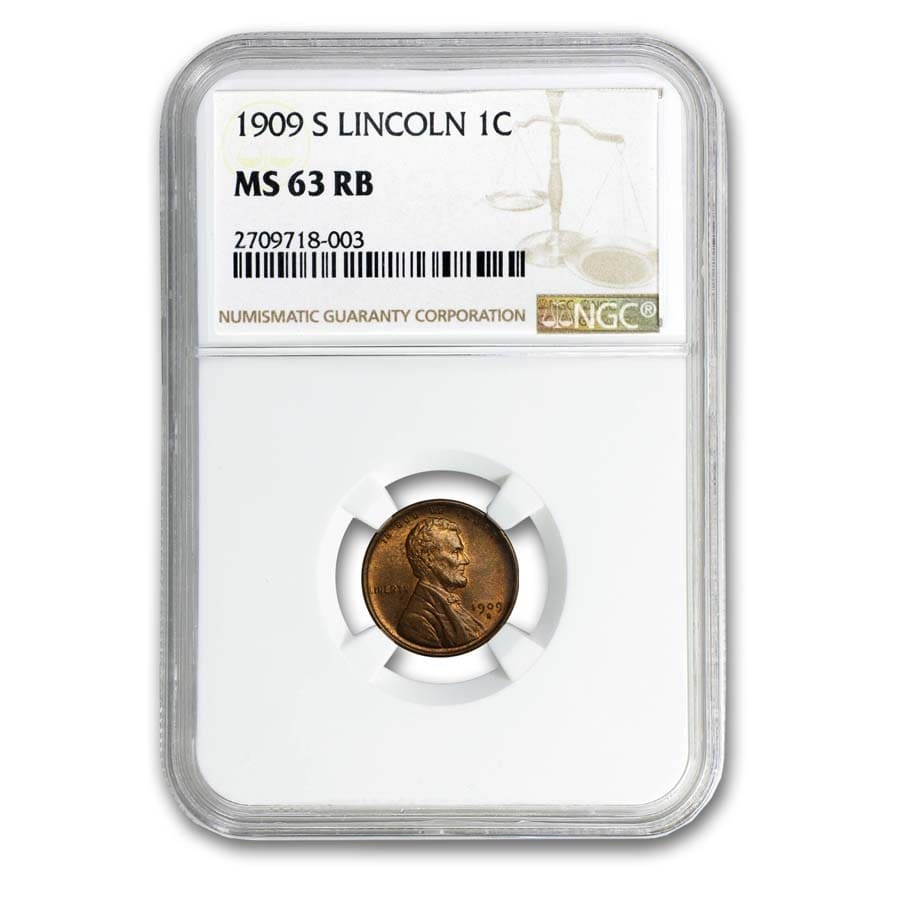 1909-S Lincoln Cent MS-63 NGC (Red/Brown)