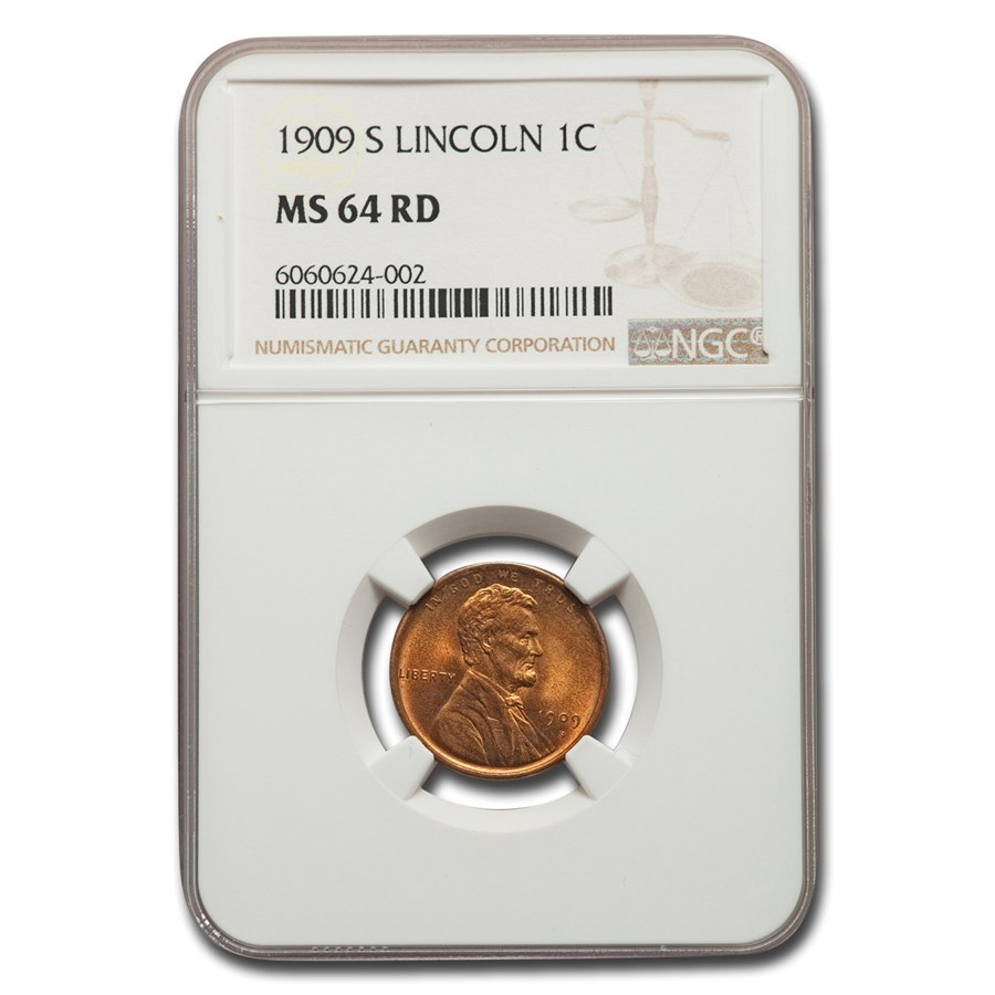 1909-S Lincoln Cent MS-64 NGC (Red)