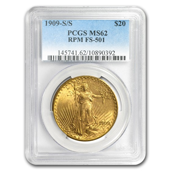 1909-S/S $20 Saint-Gaudens Gold Dbl Eagle MS-62 PCGS (RPM FS-501)