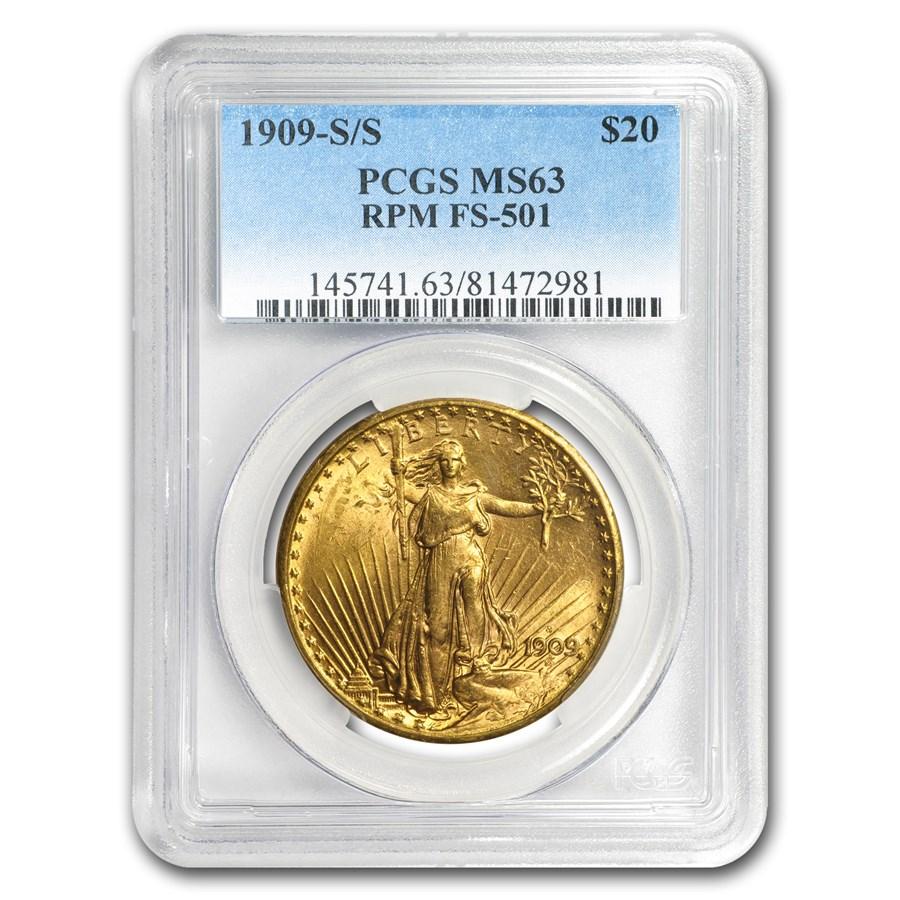 1909-S/S $20 Saint-Gaudens Gold Dbl Eagle MS-63 PCGS (RPM FS-501)