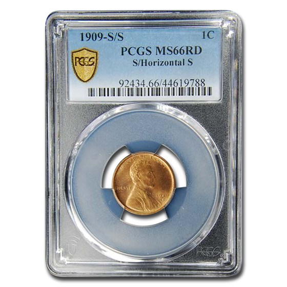 1909-S/S Lincoln Cent MS-66 PCGS (Red, S/Horizontal S)