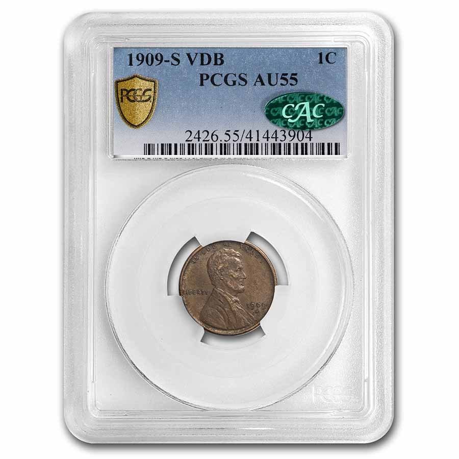 1909-S VDB Lincoln Cent AU-55 PCGS CAC (Brown)
