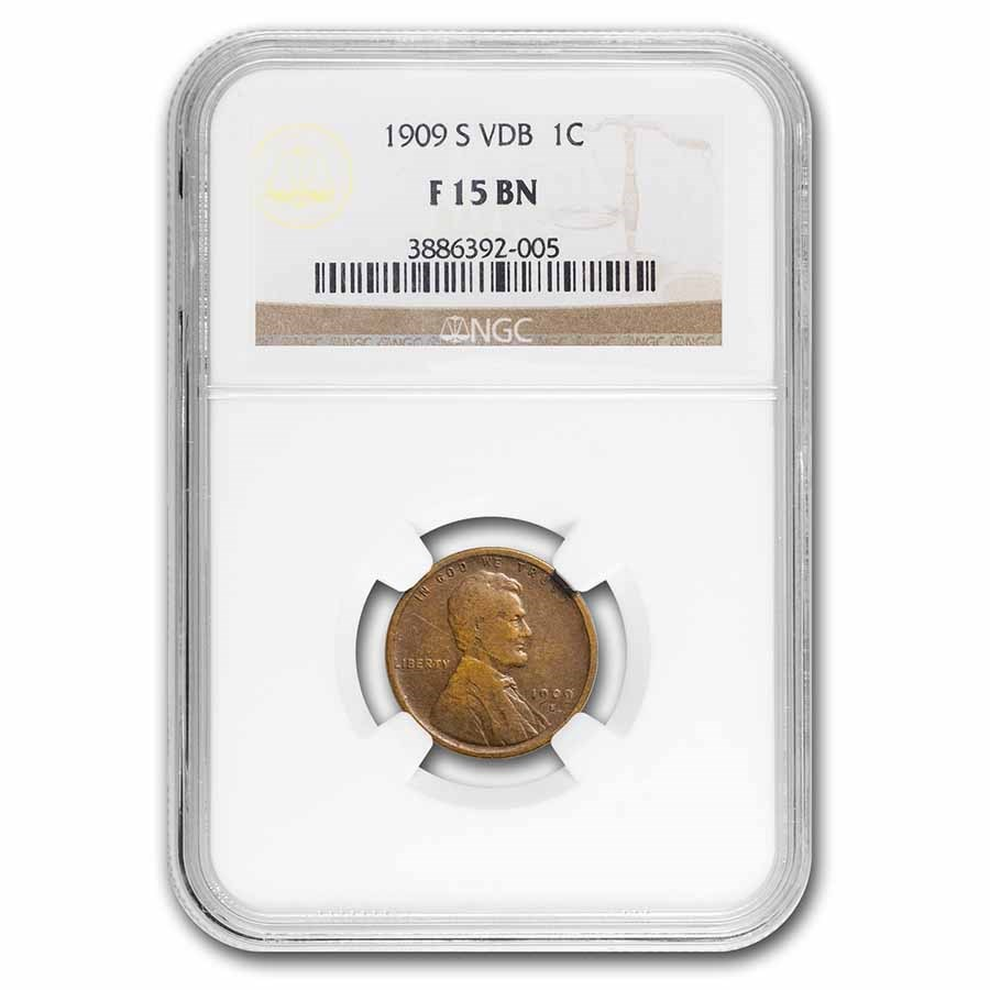 1909-S VDB Lincoln Cent Fine-15 NGC